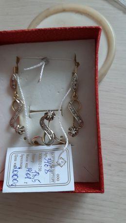 Набор бриллиантовый кольцо и серьги