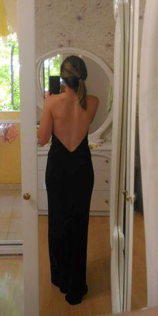 Елегантна официална черна дълга рокля