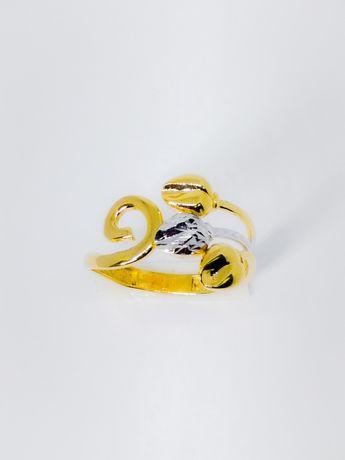 Inel din aur de 14k cu aur alb reglabil