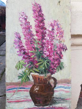 """"""" Ulcior cu delphinium """", tablou splendid Maria Frânculescu, u/c"""