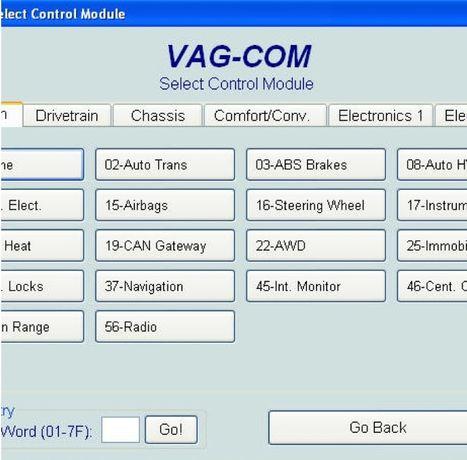 Диагностика на VAG-COM и активиране не екстри!