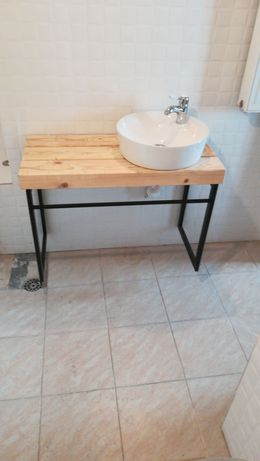 Suport chiuveta de baie din lemn masiv și fier