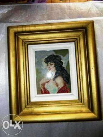 goblen vechi,portret de femeie cu sal,rama dubla,ev.ramburs