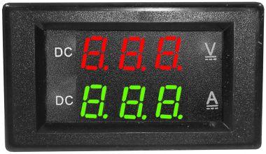 Voltmetru/ampermetru dig.,cu LED-uri,6 digiti,c.continuu 0-300V/0-20A