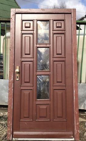 Usa casa firma intrare exterior lemn geam bonbat termopan H 215 xL 112