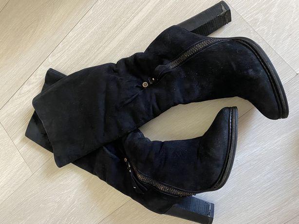 Замшевые сапоги. Кожаные. Еврозима. 38 размер
