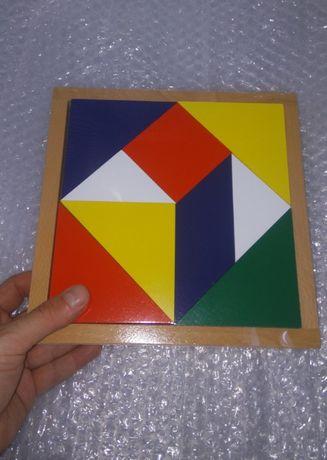 Геометрични фигури Монтесори Танграм голям размер 9 елемента