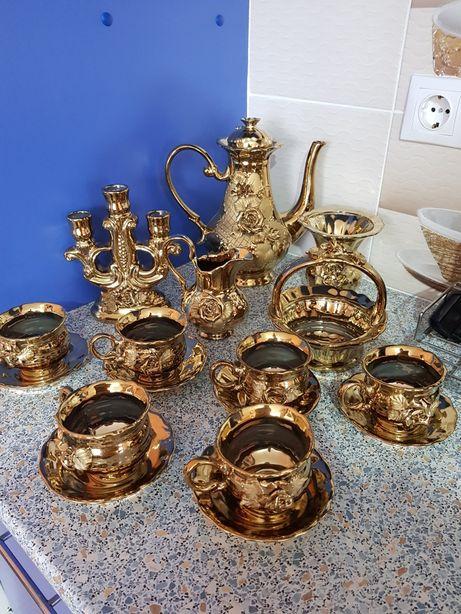 Set ceai /cafea 6 persoane,portelan aurit