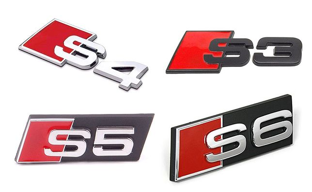 Set embleme / sigle metalice (crom sau negre) - Audi S3 / S4 / S5 / S6