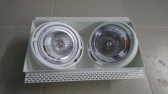 Двойно осветително тяло за вграждане, комплект с лампи и траф