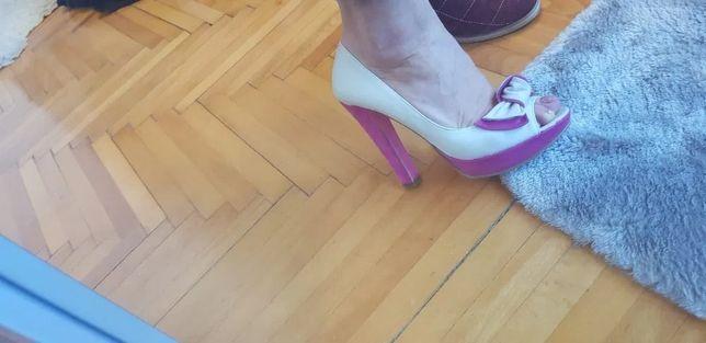 Pantofi piele naturala, calapod comod cu toc inalt, marime 38