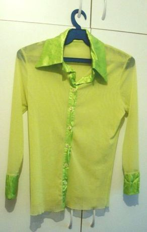 Camasa verde neon transparenta cu guler si mansete lucioase mar S/M