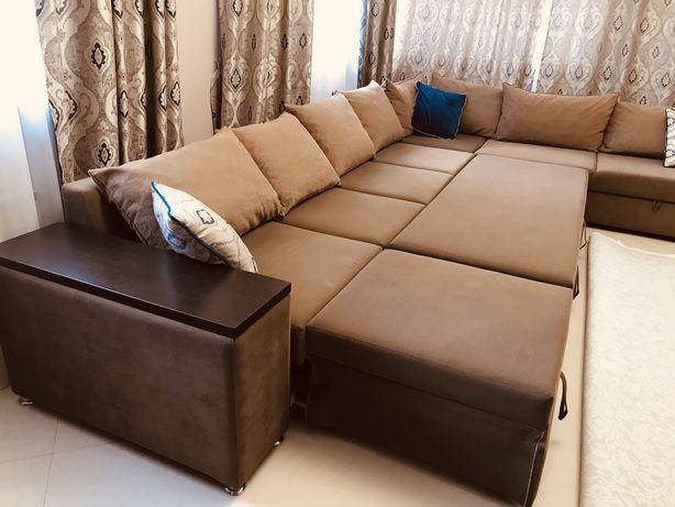 Продается Элитный Коричневый большой угловой выдвижной диван для Зала