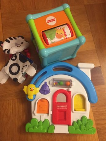 Играчки fisher price кубче и музикална къщичка
