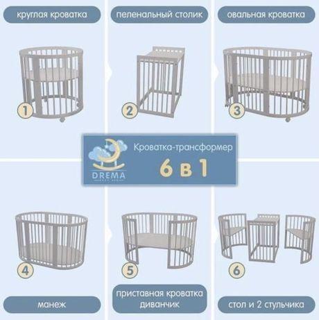 Детская кровать -трансформер 6в 1