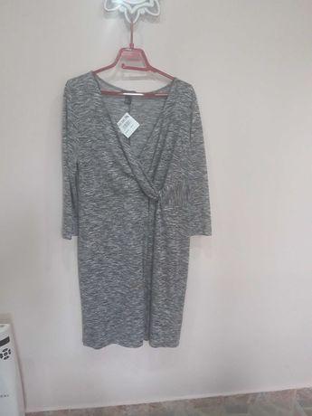 Семпла рокля,XL,яке,жилетка