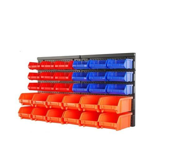 Стенен стелаж с 30 кутии за съхранение