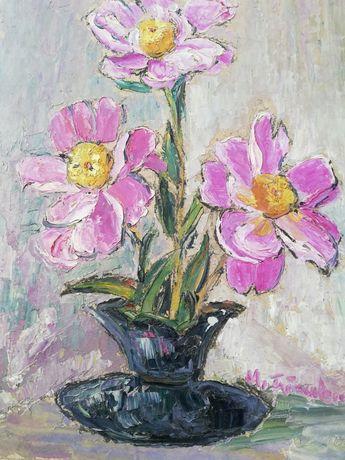 """Maria Frânculescu,"""" Flori """",tablou frumos, u/c, tehnică cuțit, pensula"""