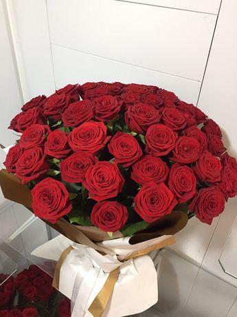 Метровые  101 роза Костанай букеты