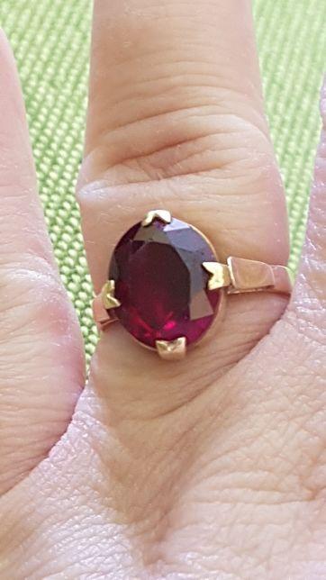Inel manufactura veche aur 14k cu rubin natural fatetat