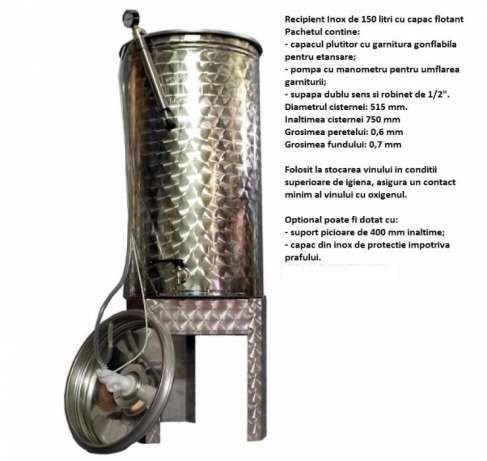 Cisterna/Recipient inox 150 L pentru vin, lapte, tuica (cisterne inox)
