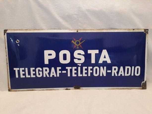 Tabla veche emailata / smaltuita, Posta Telegraf Telefon Radio