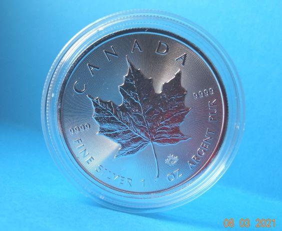 Moneda Lingou 1oz=31gr Ag pur 9999 val.5$ capsula MAPLE LEAF/REGINA'21