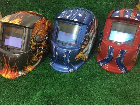 Заваръчен шлем соларна маска с функции червен орел
