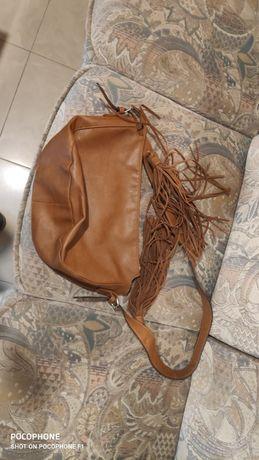 Кафява дамска чанта, кожа
