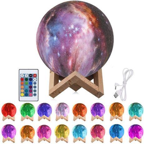 Lampa luna veioza, 3D, LED, tactila, telecomanda, copii, noptiera