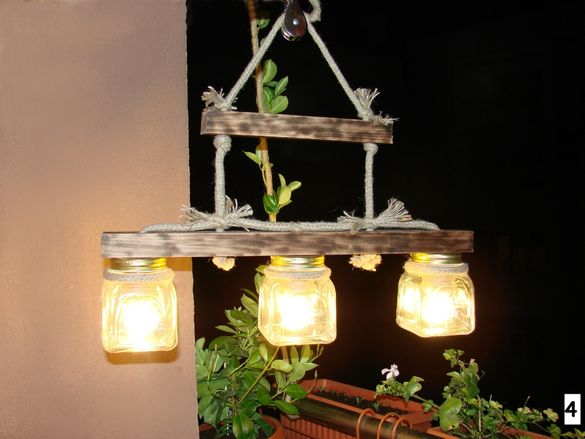 6 вида ръчно изработена дървена лампа (полилей) в битов стил (механа)