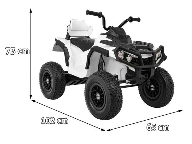 ATV electric pentru copii (0906 AIR) cu roti gonflabile Alb