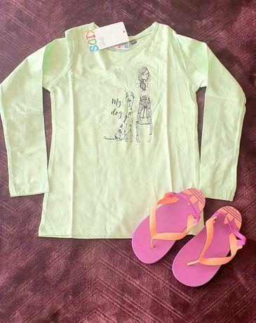 Джапанки Adidas 27н. и блузка с дълъг ръкав 110/116см