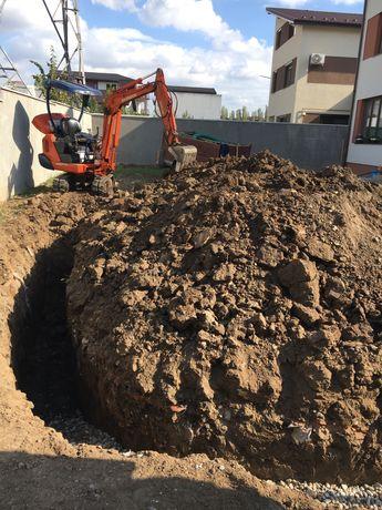Miniexcavator Fose septice drenaje canalizare