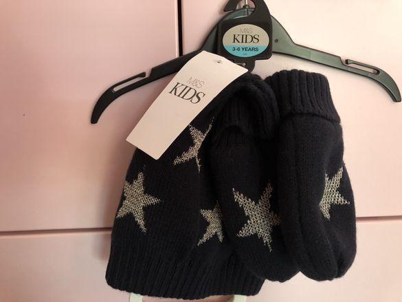 Marks & Spencer-Комплект шапка и ръкавици 2год.