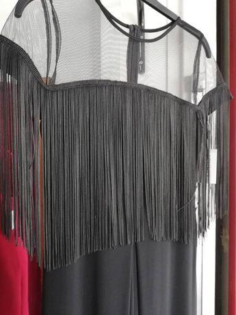 Елегантен черен гащеризон с ресни и тюл