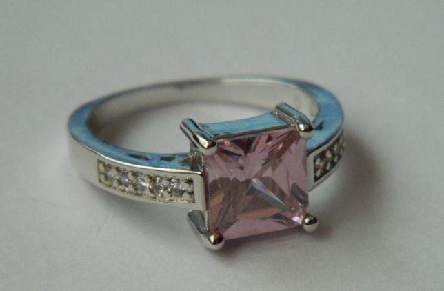 ARG76,inel argint 925,nou/marcat, masiv, zircon roz si alb