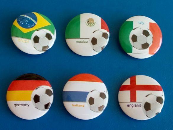 Големи Значки Футбол Германия Англия Холандия Бразилия Италия Мексико