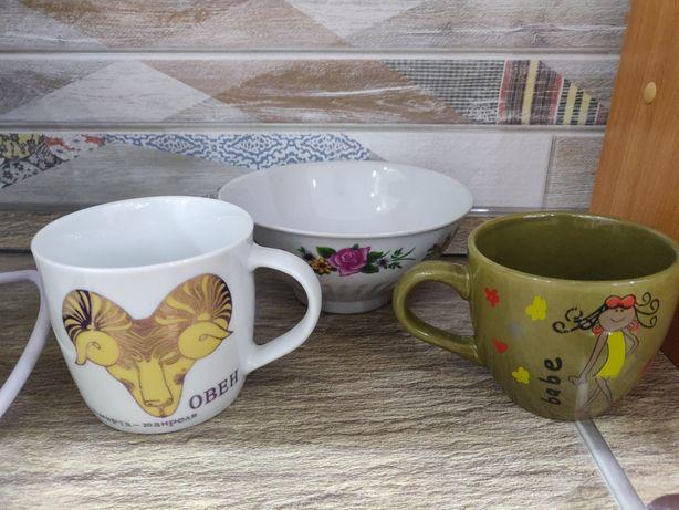Посуда ( две кружки и тарелка глубокая)