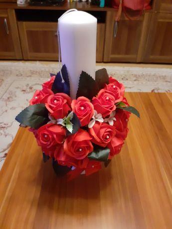 Lumanare botez fetita cu trandafiri de sapun