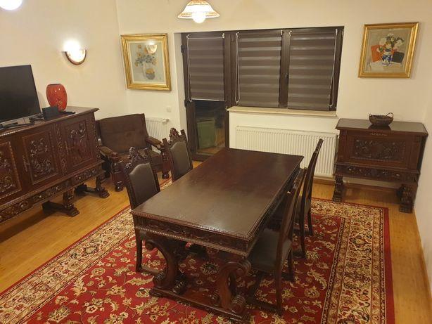 Set mobila lemn masiv masa + 6 scaune + bufet + bar + vitrina