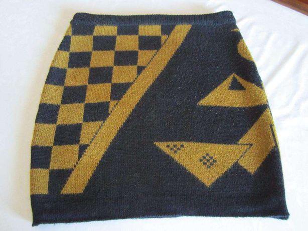 Fusta mini negru / mustar tricotata, marimea, 40