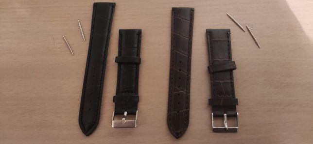 Curea neagră / maro 20mm pentru ceas de mână
