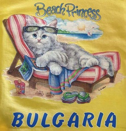 Нова детска тениска с котенце на плаж 1г 2г 4г 6г 8г 10г 12г 14г