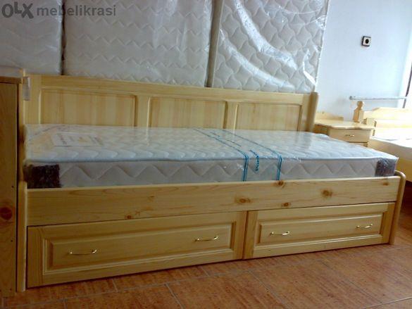 Единично легло с гръб и две чекмеджета -Масив.Налично!
