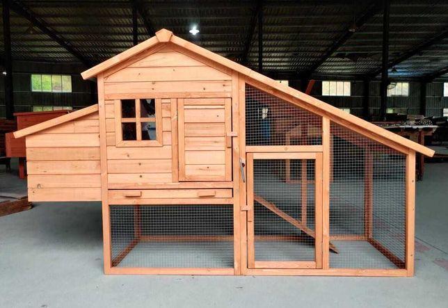 Coteț din lemn, pentru găini, 190x65x113 cm