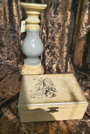 Комплект свещник и кутия за бижута