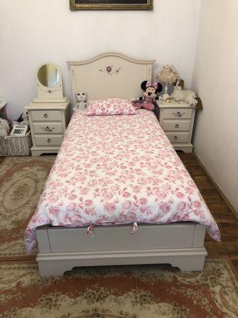 Pat pt dormitor si 2 noptiere de lemn masiv pictat manual