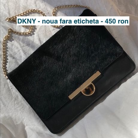 Geanta Plic DKNY Donna Karan New York negru piele blana ponei 450 RON