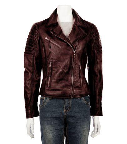 Дамско яке от естествена кожа в цвят бургунд